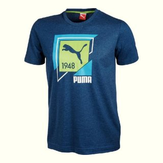 Puma Fun Shirt Casual Graphic Tee,Herren T-Shirt, Blau (Majolica Blue Heather)