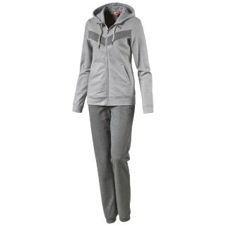 PUMA Damen Fun Sweat Suit Closed 832130-08 Grau ( Light Gray Heather-Medium Gray Heather) Trainingsanzug